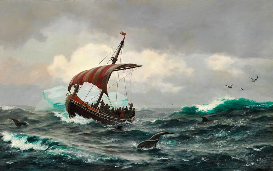 A classic Viking ship, closely resembling those used by early setters to Iceland.