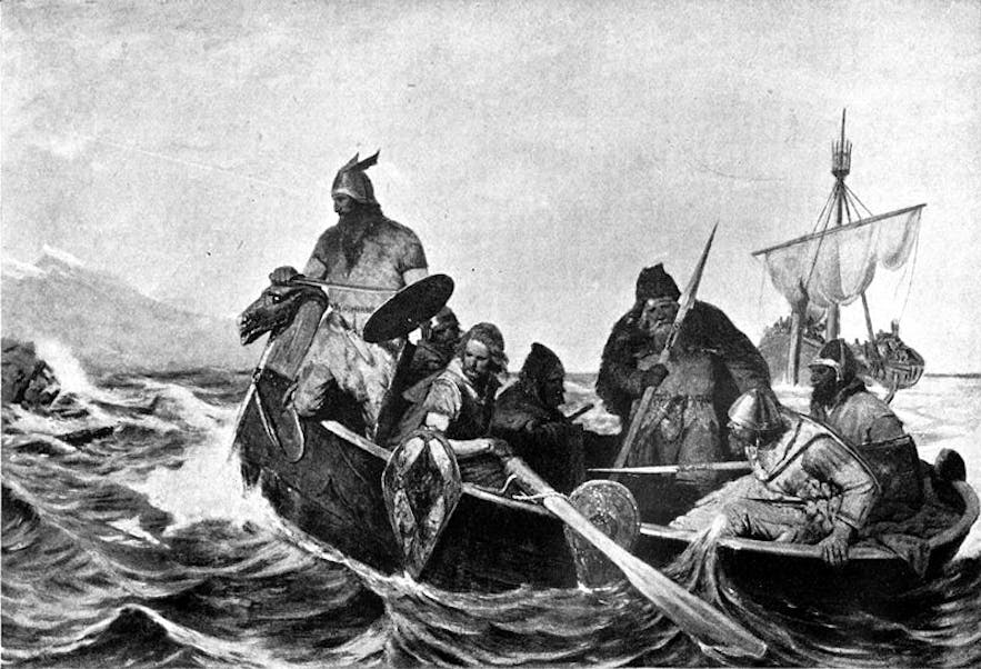 Norsemen arriving by boat to Iceland.