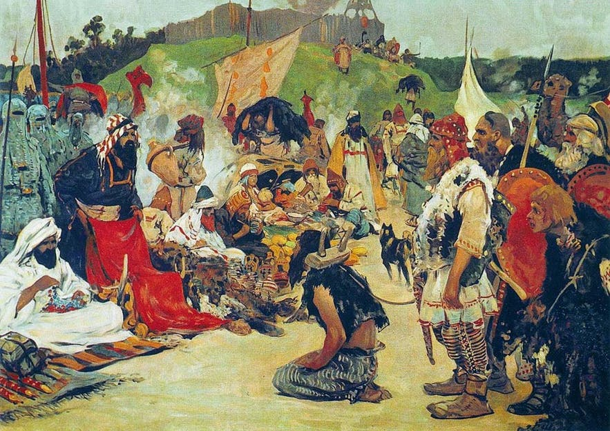 The Rus—Swedish Vikings—trading slaves with the Slavs (1909).