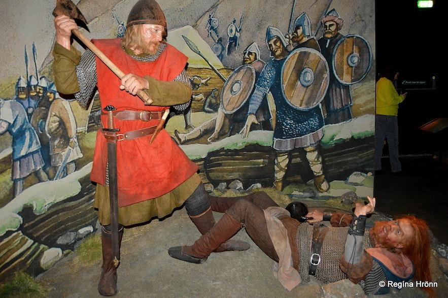 A crucial scene from Örlygsstaðabardagiat the Saga Museum in Reykjavík