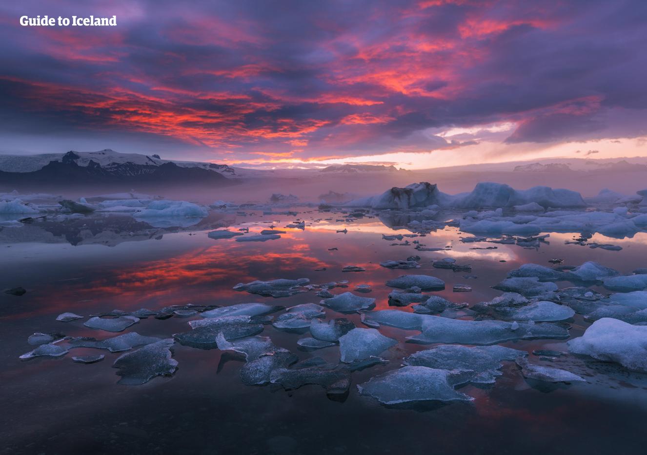 Odwiedź piękną lagunę lodowcową Jökulsárlón podczas letniej wycieczki autem i zobacz, jak góry lodowe pływają spokojnie w lodowatej wodzie.
