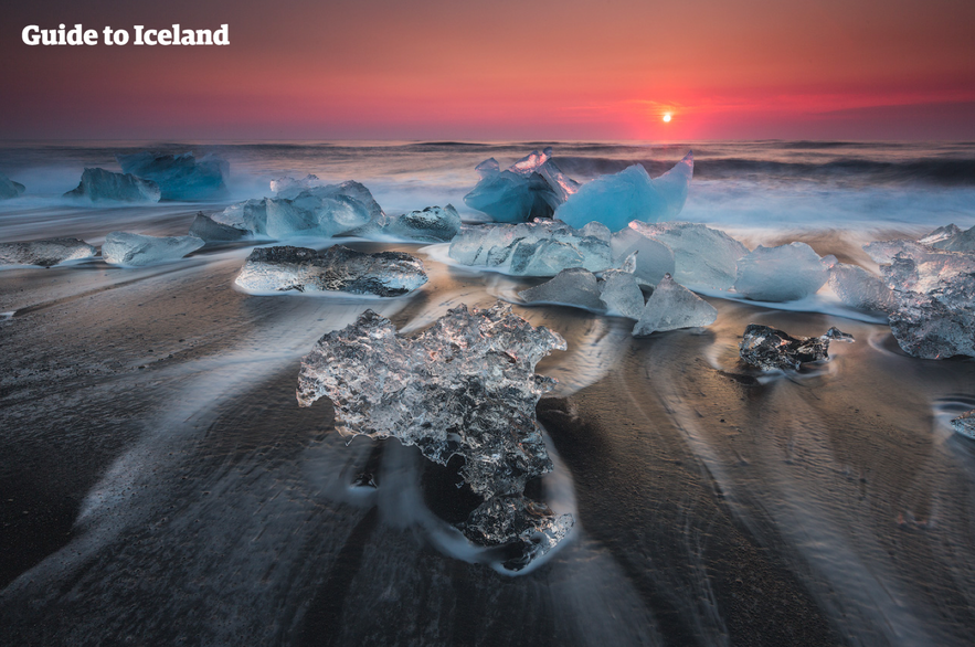冰島鑽石沙灘日落