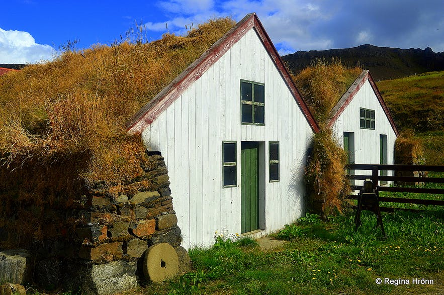Turf outhouses at Staður in the Westfjords of Iceland