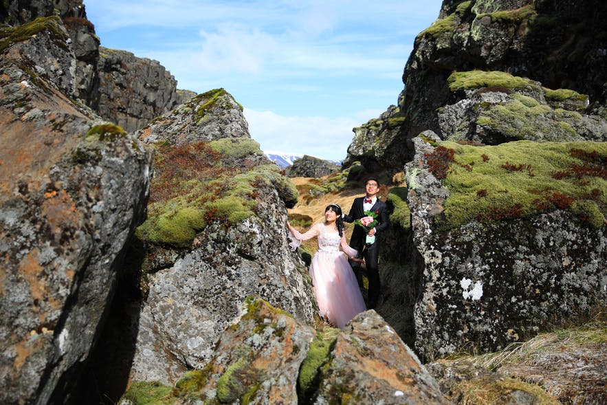 Letni ślub w Parku Narodowym Þingvellir na Islandii.