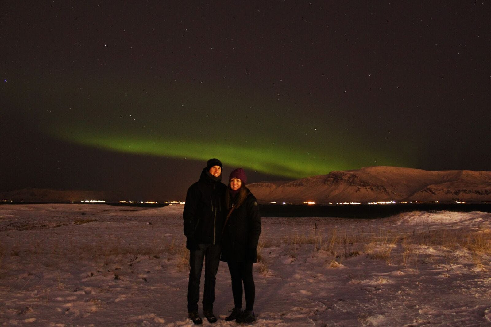 Northern Lights can be seen on Viðey Island in winter.