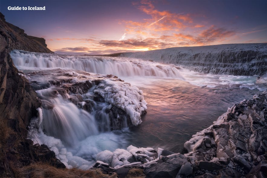 The top of the beloved waterfall Gullfoss in winter.