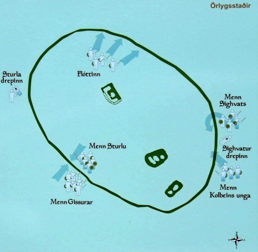 The map of Örlygsstaðabardagi