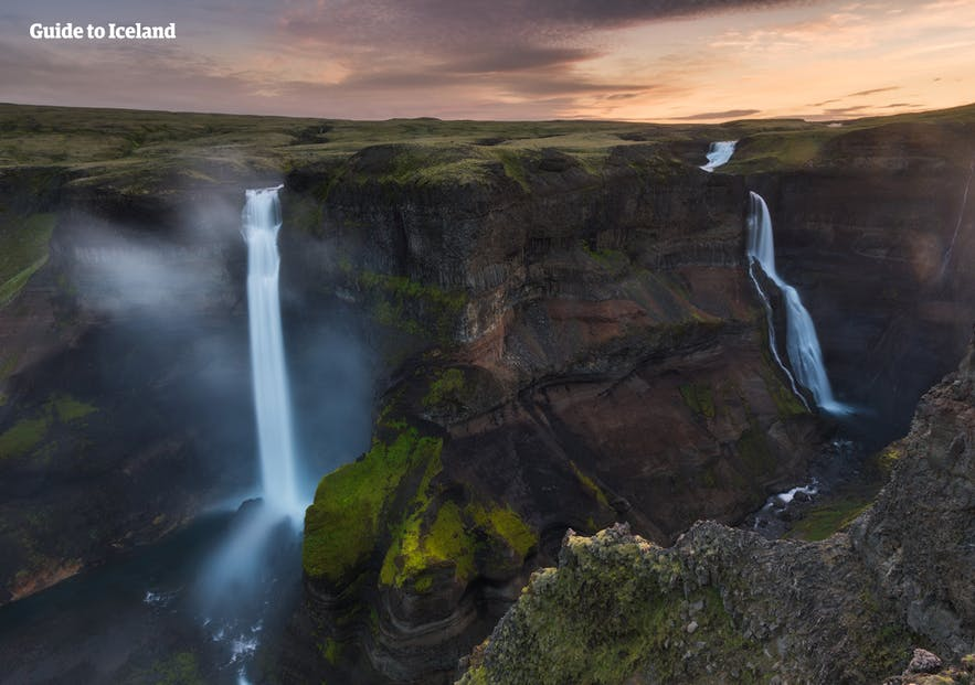 Two waterfalls of Þjórsá; a Highland river set to be dammed in three places in the next years.