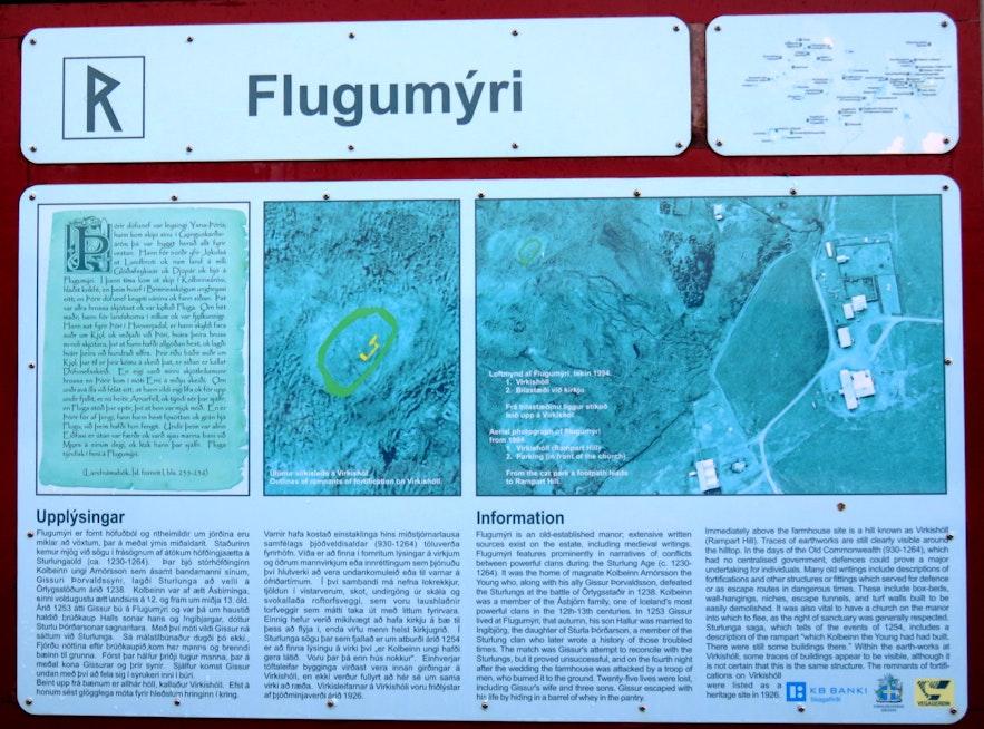 Flugumýri information sign Skagafjörður