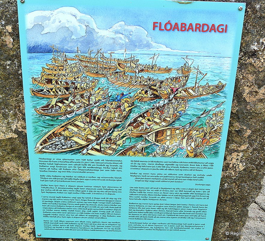 The information sign at Trékyllisvík at Strandir