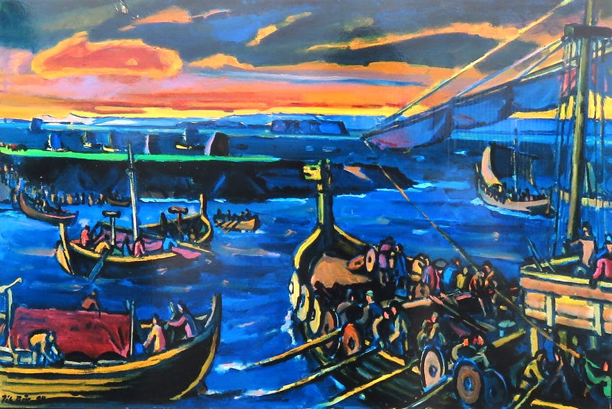 Painting of Flóabardagi sea-battle, belonging to a  series of paintings by Jóhannes Geir Jónsson (1923-2007). I cropped it from the information sign at Skagi for my travel-blog.