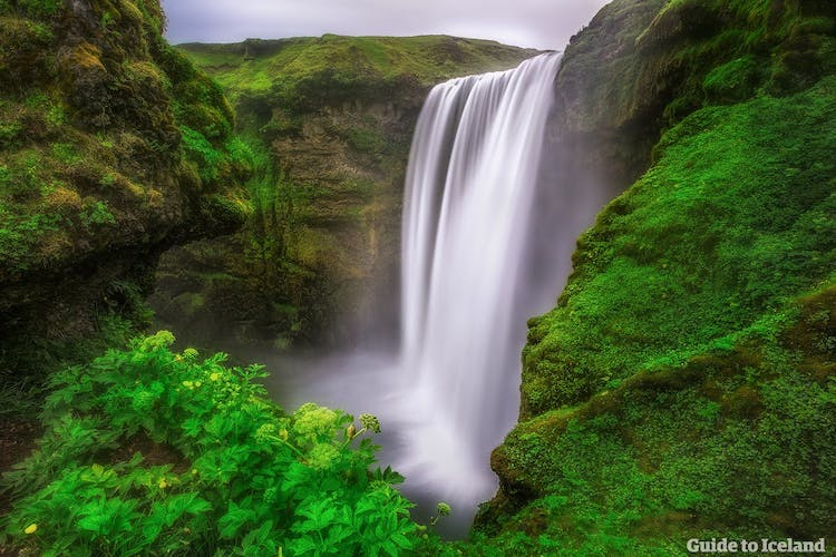 Skógafoss is a sixty-metre tall waterfall on the South Coast that can reach a width of twenty metres.