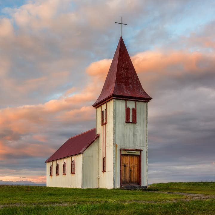 A lone church stands on the beautiful Snæfellsnes Peninsula, pictured in summer.