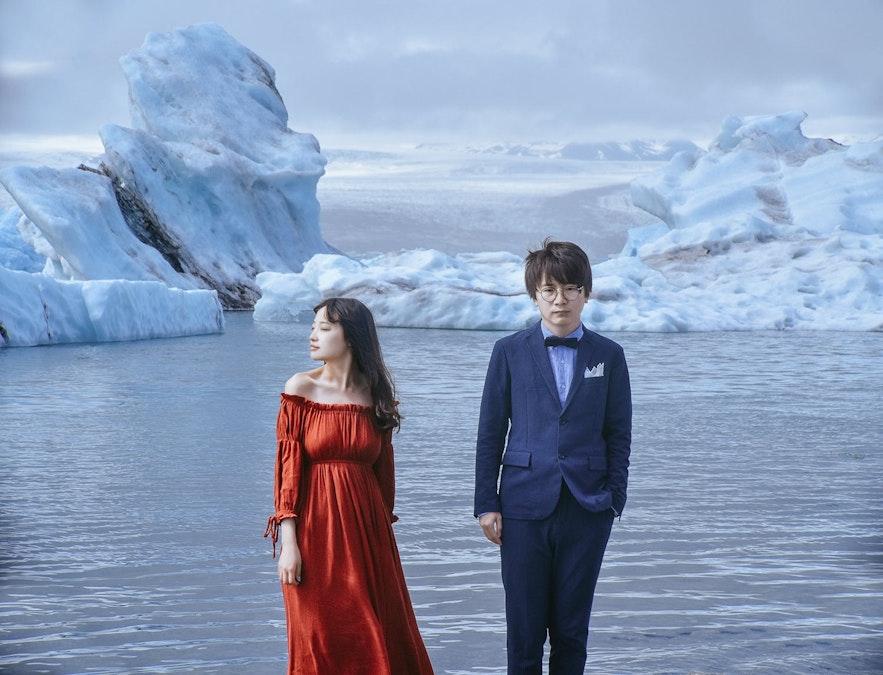 冰島冰河湖結婚照片