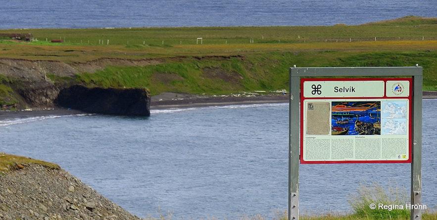 Selvík on Skagi information sign