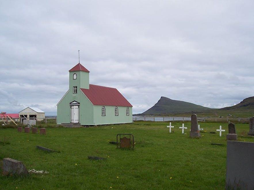The old church at Arneshreppur.