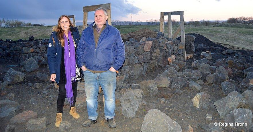 Regína with Hörður by The turf house at Efri-Vík in 2016