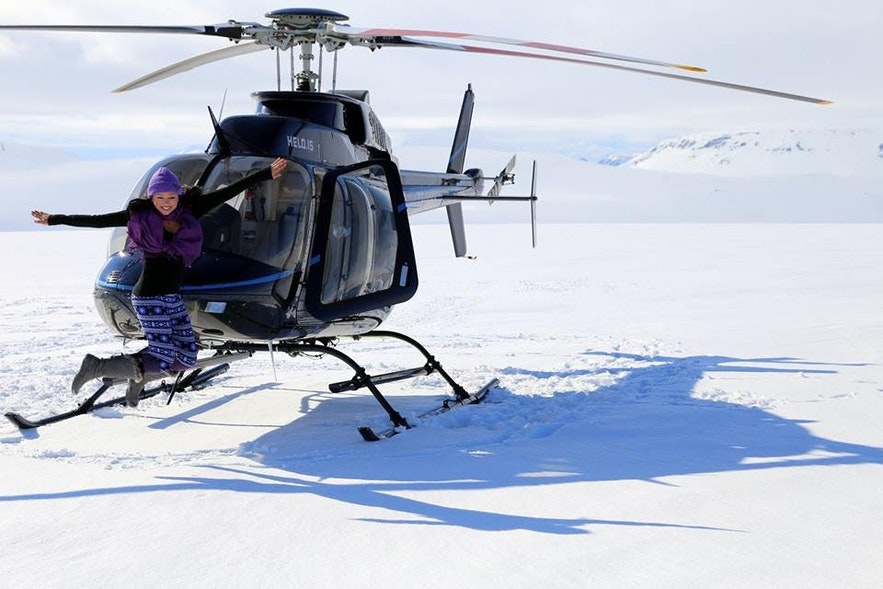 A happy helicopter passenger!