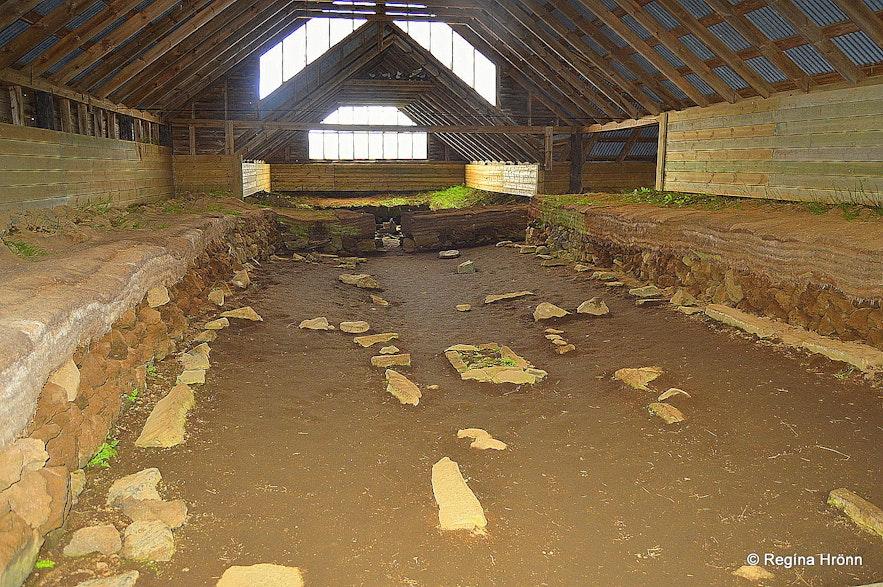 Inside Stöng Viking longhouse