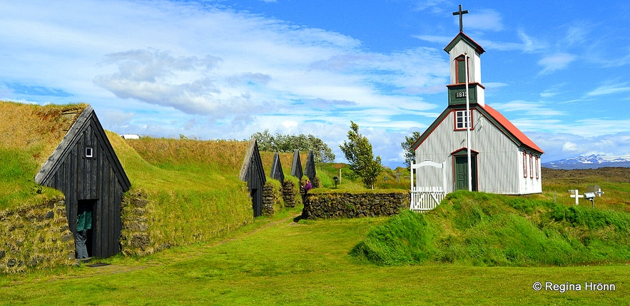 Keldur turfhouse and Keldnakirkja church