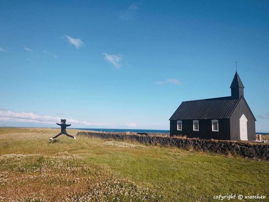 冰岛西部斯奈山半岛布迪尔黑教堂(Budir)