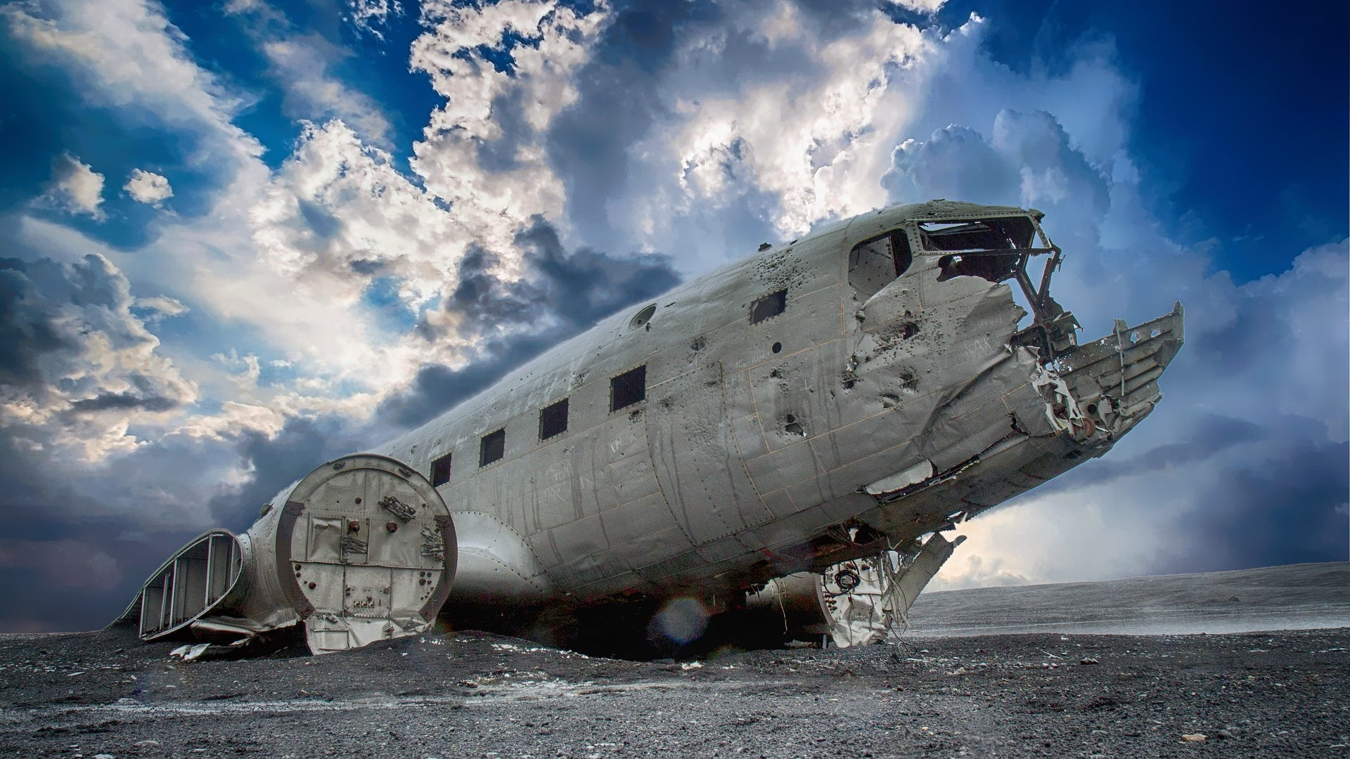 This DC-3 plane wreck on Iceland's South Coast is surrounded by pitch black sands, making it look surreal and post-acopalyptic