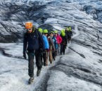 Glaciers are dangerous, full of hidden cracks and canyons, so it's important to stay in a line behind your knowledgeable guide.