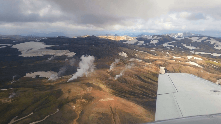 "Flying over the colourful hillsides of Landmannalaugar, ""The Pools of the People""."
