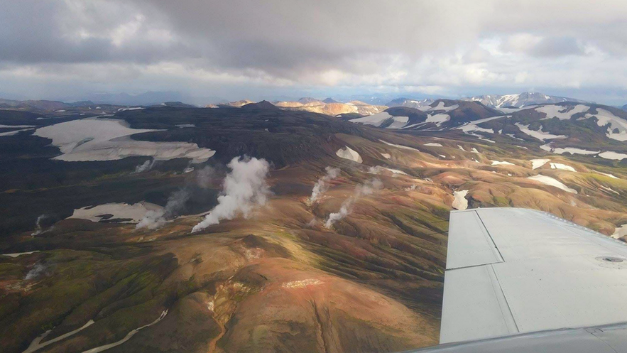 """Flying over the colourful hillsides of Landmannalaugar, """"The Pools of the People""""."""