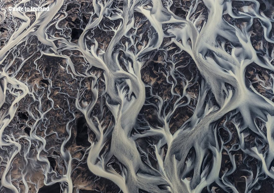 An Icelandic river system as seen from above.