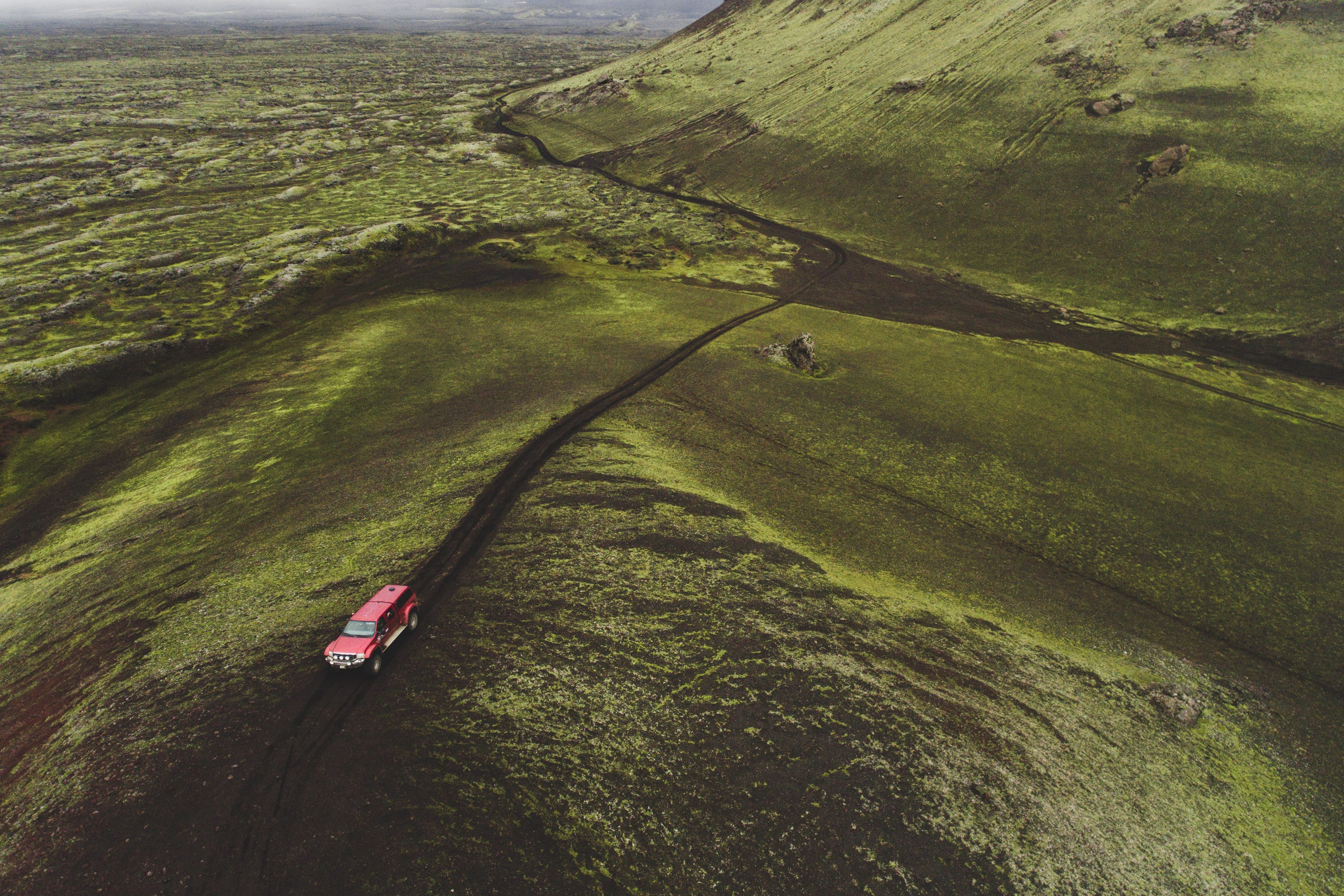 A super jeep crossing the fantastical landscapes of the Icelandic Central Highlands.