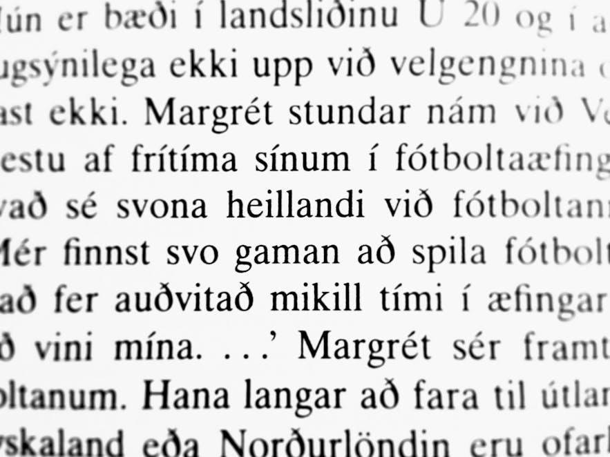 Przykład języka islandzkiego.