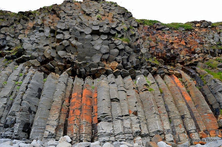 Basalt columns at Kálfshamarsvík cove at Skagi North-Iceland