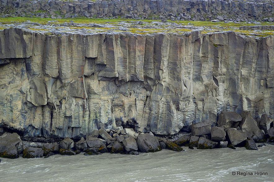 Basalt columns asseen from the west bank by Selfoss waterfall