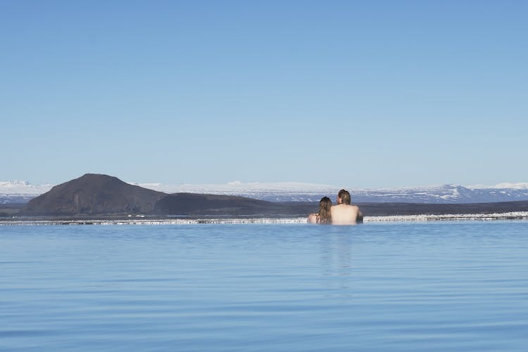 Admiring the views from Mývatn Nature Baths.