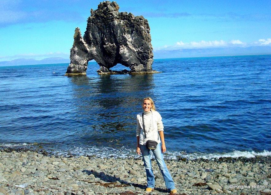 Regína by Hvítserkur monolith in North-Iceland