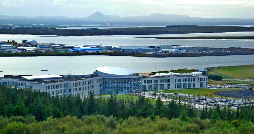 An aerial perspective over Reykjavík University.