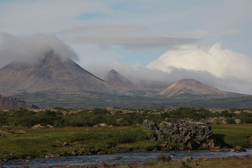 Mt. Baula, behind river Norðurá, in the foreground.