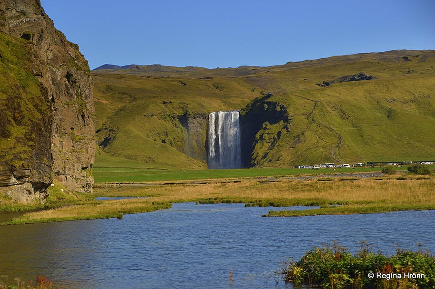 The spectacular Skógafoss Waterfall in South-Iceland and the Legend of the Treasure Chest