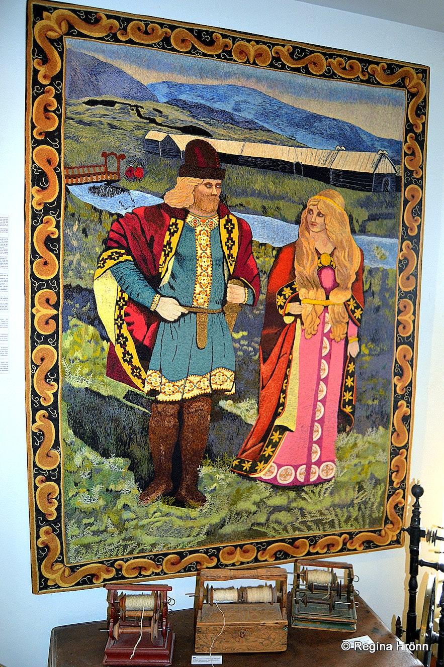 Gunnar at Hlíðarendi and Hallgerður langbrók at at Skógasafn Museum