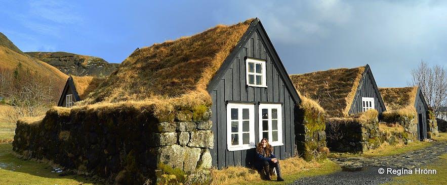 Skógar turf houses in South-Iceland