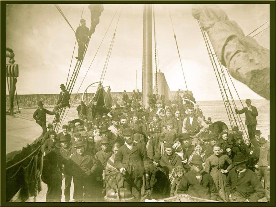An 1888 photographer taken before a voyage from Iceland to North American. Voyages such as these were a consequence of the Laki eruption years previously.