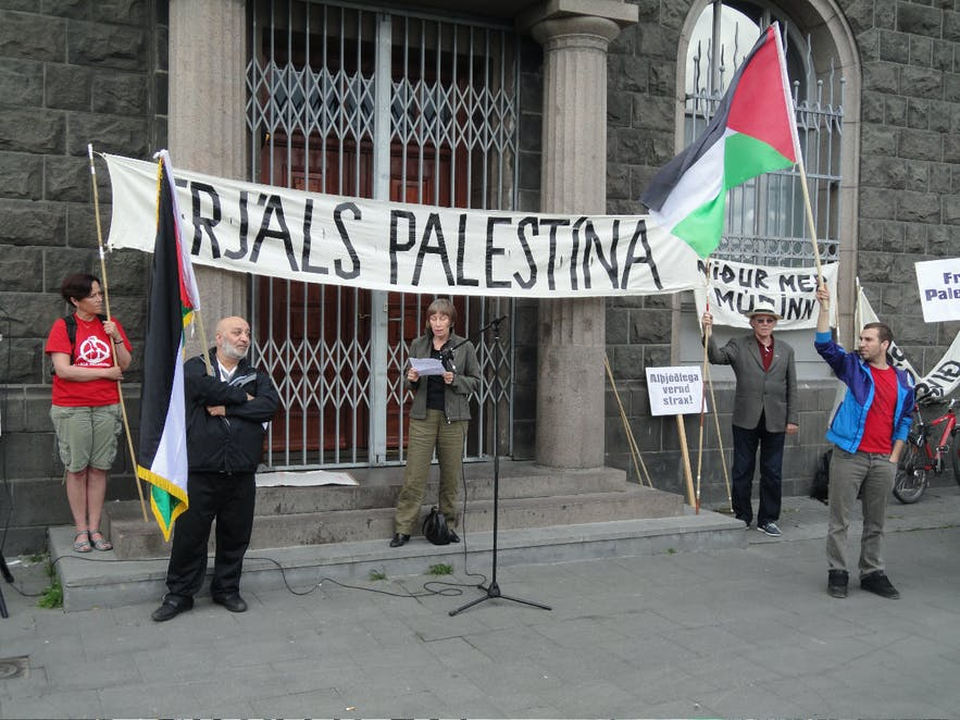 A Pro-Palestinian demonstration held outside the Parliament House in Iceland's capital.