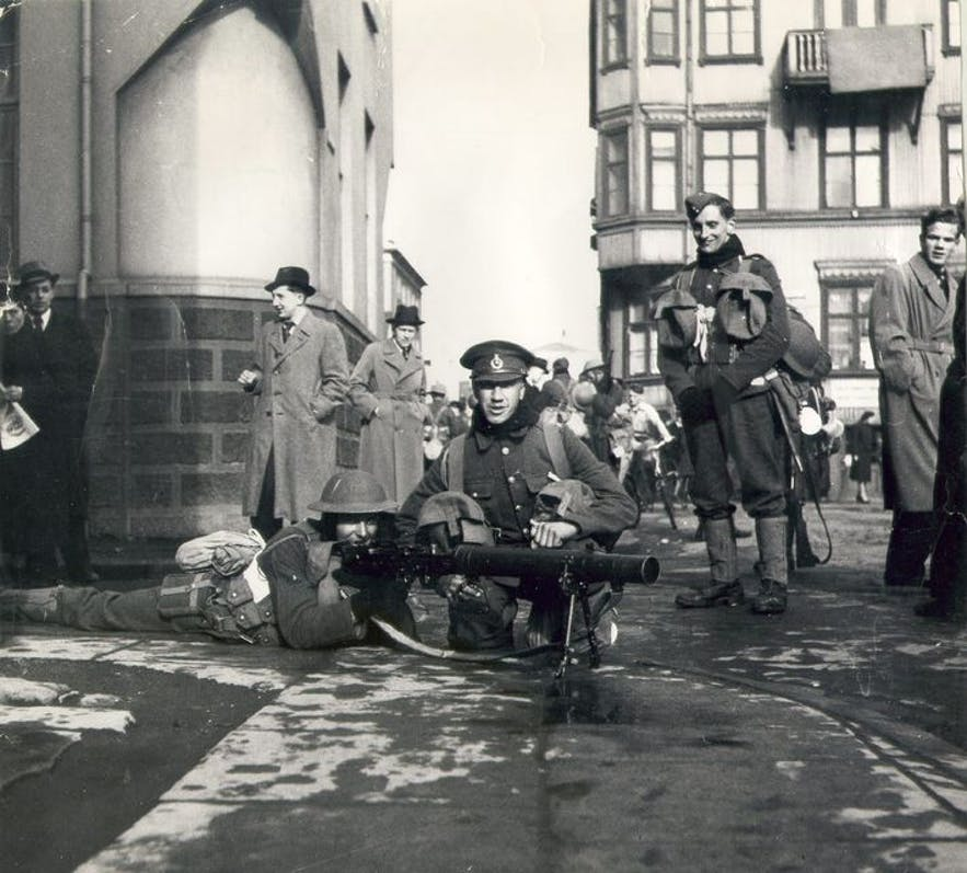 A British soldier in Iceland's capital city during the Second World War.