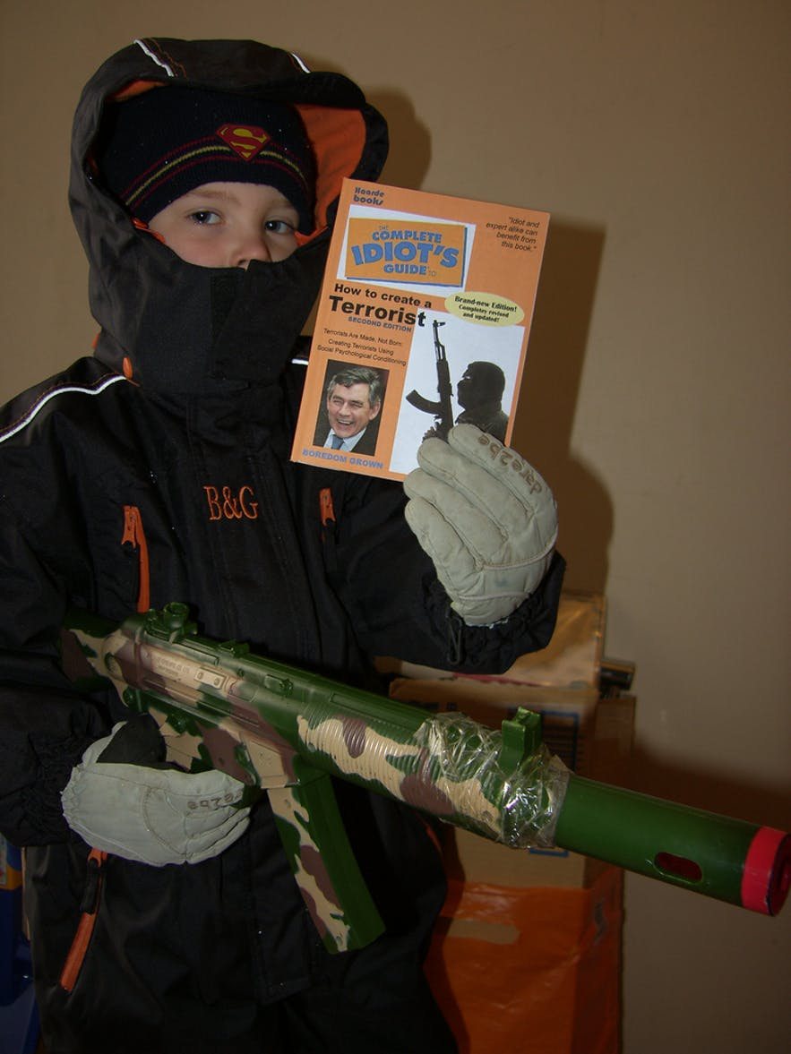 A young Icelandic terrorist, prepared to defend this country's financial affairs.
