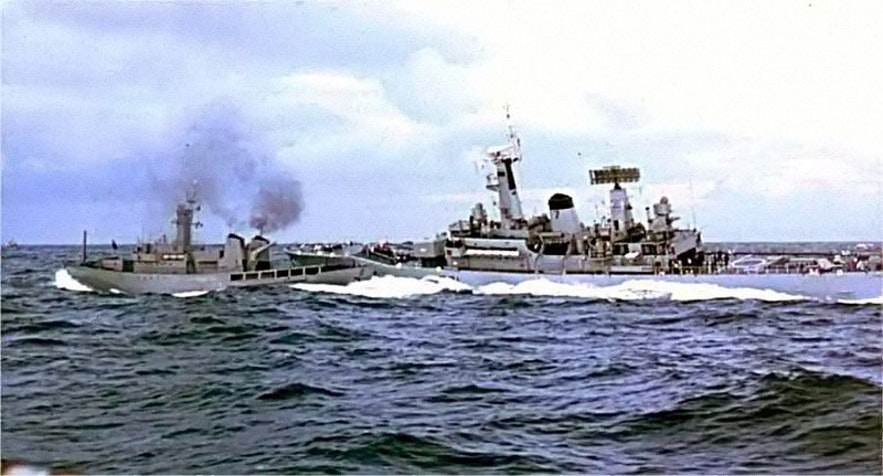 The HMS Scylla collides with the Odinn vessel during the 2nd Cod War.