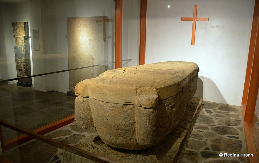 Stone coffin found during the excavation for the foundations for the Cathedral in Skálholt