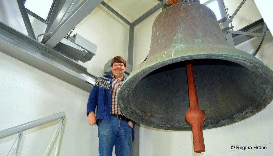 The church bell at the church tower at Hólar in Hjaltadalur
