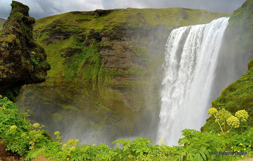 Skógafoss waterfall and the troll South-Iceland
