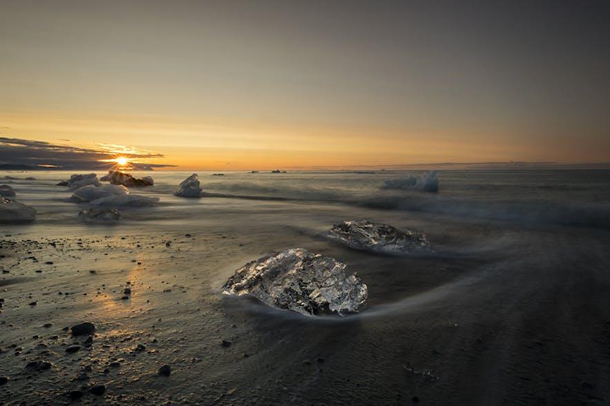 ice cube on the beach